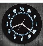 Djkaa Peluquería Salón de Belleza Iluminado Reloj de Pared Peluquería Diseño Vintage Ambiente Reloj Iluminado Retroiluminación LED Rótulo Comercial