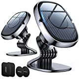 2 Pack【6 Strong Magnets】 Magnetic Car Phone Mount Holder, Universal Cell Phone Holder for Car Dashboard, 360° Rotation Car Smartphone Cradle Fit for iPhone 11 Pro Max/Xs Max/XR/X
