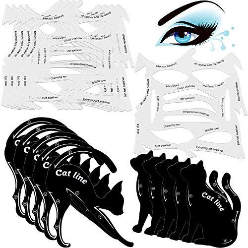 10 Sets 2 in 1 Cat Eyeliner Molds Smoky Eyeliner Stencil Pads...