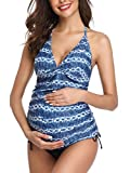 Halter Neck Maternity Tankini Tie-dye Striped Swimsuit Set