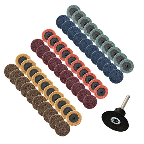 COSPOF Roloc Disc 2 Inch Quick Change Sanding Disc 60 pcs, 1/4'' Roloc Disc Pad Holder 1 pcs, Easy for Quick Change, Features Better Surface Quality and Heat Dissipation.