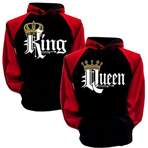 Tomwell Hombre Y Mujer Moda King Queen Impresión Sudaderas con Capucha Manga Larga Pullover Camisas Jersey Hoodies Parejas Tops