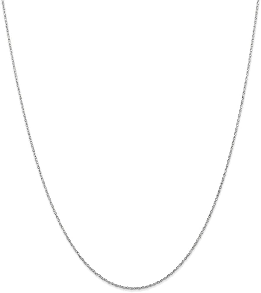 Solid 14k White Gold .7mm Carded Cable Rope Chain Necklace