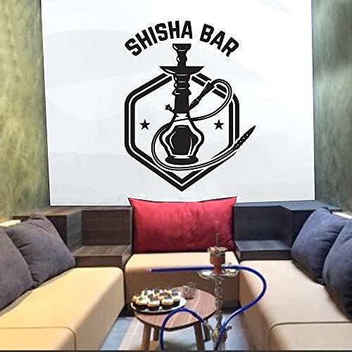 SUPWALS Pegatinas de pared Shisha Bar Adhesivos De Pared Decoraciones De La Casa Sala De Estar Arte Tatuajes De Pared Cachimba Tienda Polígono Papel Tapiz Patrón Extraíble 42X54Cm