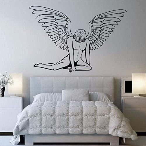 Muurstickers muurschilderingen Decals Verkoop Een Man met Vleugels Engel Slaapkamer Zwarte Kunst Verwijderbare Huis 61 * 42cm