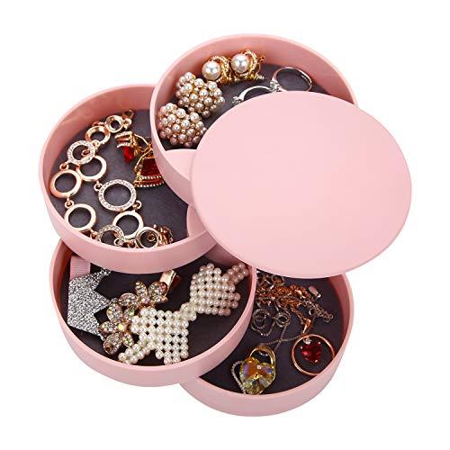 Ulikey Caja Joyero Organizador Rotación de 360°, Joyero de 4 Capas Redondos, Joyero Organizador Viaje Mujer Niña, Joyero Jewelry Organizer Pequeña para Anillos, Aretes y Collares (Rosa)