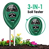 Soil Moisture Meter, 3-in-1 Soil Test Kits with Moisture,Light and PH Test for Garden, Farm, Lawn, Indoor & Outdoor (No Battery Needed), Soil pH Meter