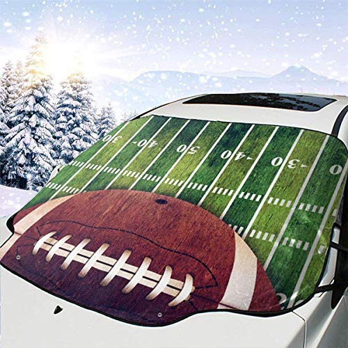 LREFON Winddichte Windschutzscheibe Schneedecke Auto Sonnenschutz Visier American Football Field Ball Winter Frostschutz Protector Alle Fahrzeuge
