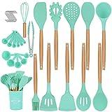 Duerer Utensilios Cocina de Silicona, juego de utensilios de cocina 36 piezas, herramienta de cocina antiadherente resistente al calor con mango de madera (sin BPA)