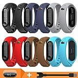 Pulsera Correas para Xiaomi Mi Band 3 Mi Band 4, Cable USB y Películas Pantalla Accesorios y Correa para Xiaomi Mi Band 4 Mi Band 3 (6PCS & Cable & Protector Pantalla)