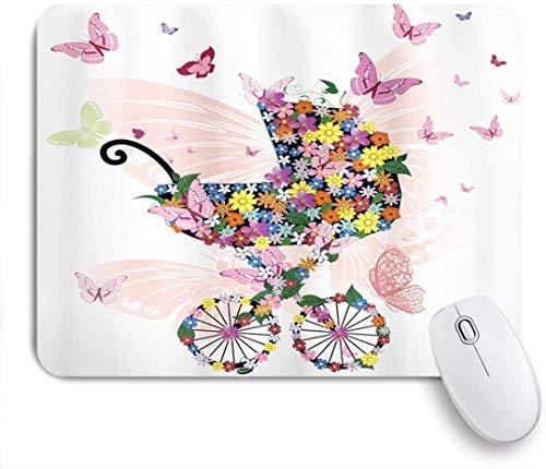 Gaming Mouse Pad, Schmetterlinge Kinderwagen Von Blumen Und Schmetterlinge Wagen Wagen Feier, Rutschfeste Gummi Backing Mousepad