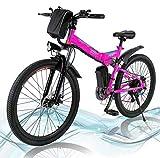 Vélo électrique Pliant, vélo de Montagne à Batterie au Lithium 36V 250W 8A, vélo électrique de Grande capacité de 26 Pouces avec Batterie au Lithium et Chargeur, Volant à 7 Modes, 22-30 km/h