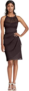 sleeveless short mesh dress with side cascade