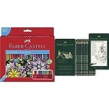 Faber-Castell 111260 - Estuche-soporte de cartón con 60 lápices de, multicolor + 9000 - Set de 12 lápices para dibujo artístico