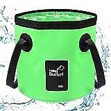 Cubo Plegable 20L, Apilable Cubo Plegable Depósito de Agua Plegable Portátil para Vacaciones, Jardín, Exterior, Pesca y Camping(Verde)