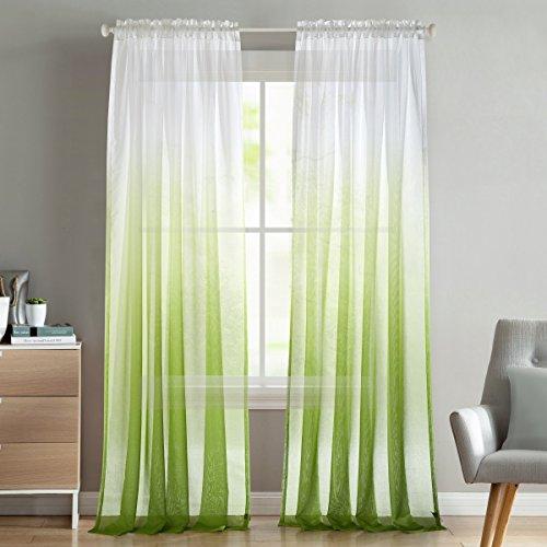 Dreaming Casa Voile Vorhang Farbverlauf Grün Transparent Gardinenschal mit Stangendurchzug, luftig und lichtdurchlässig, für Wohnzimmer Schlafzimmer Fensterdeko 140cm x 240cm (B x H) 2 Stücke