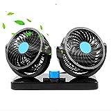 Ventilatori a doppia testa Veicolo per auto 360 Rotanti regolabili Ventole per auto a doppia testa...