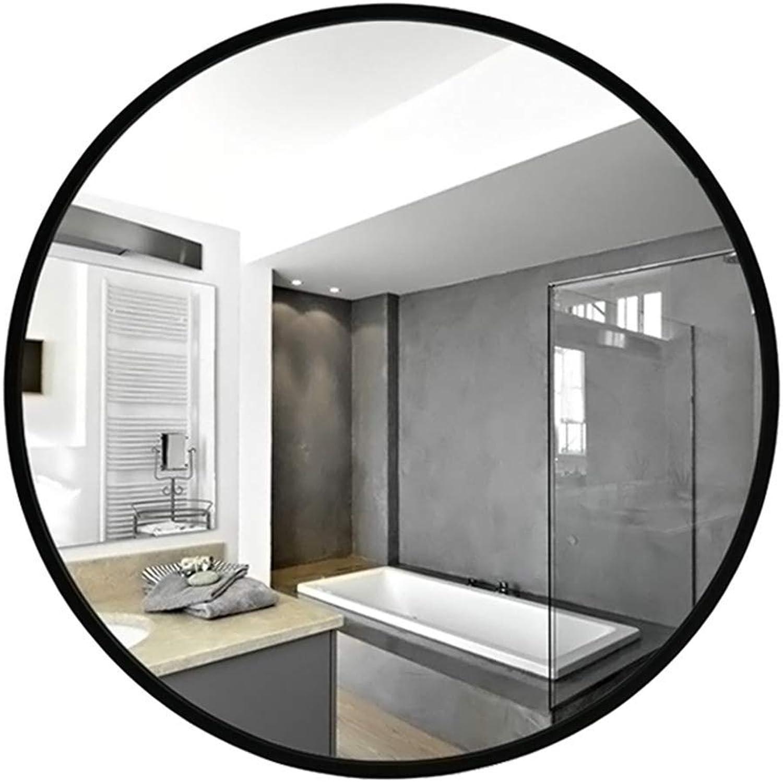 Family History Bathroom Mirror, Aluminum Alloy Round Mirror Bathroom Makeup Mirror Wall Mount Decorative Mirror Toilet Mirror,Black,D50CM (color   Black, Size   D50CM)