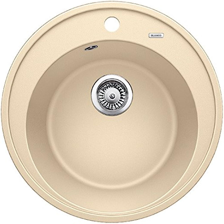Weiß Riona 45, rundes Spülbecken, Rundbecken-Küchenspüle aus Silgranit, Champagner   mit 3 1 2  Korbventil - ohne Ablauffernbedienung; 521400