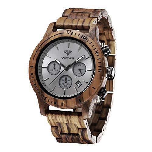 Orologio da uomo in legno VICVS, orologio da uomo Pterocarpus soyauxii in noce nero, cronografo multifunzione con cinturino in legno, adatto a qualsiasi polso (Zebra)