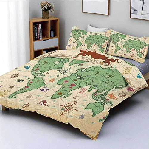 Juego de funda nórdica, estilo retro, mapa del mundo con árboles, volcanes y montañas, juego de cama decorativo de 3 piezas con estampado de arte bohemio antiguo con 2 fundas de almohada, verde crema,