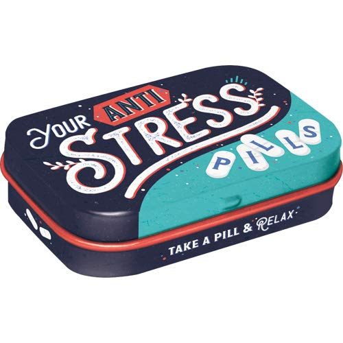 Nostalgic-Art 81386 Anti Stress Pills | Pillen-Dose | Bonbon-Box | Metall | gefüllt mit Pfefferminz-Dragees