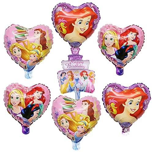Babioms 7PCS Princesa Globo, Decoración de Cumpleaños Globos Decoraciones Para Baby Shower, Globos Cumpleaños Decoracion de Princesa