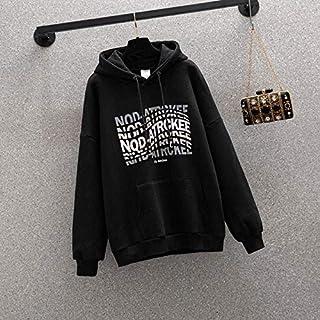 Letter Print Hooded All-Match Plus Velvet Sweatshirt Durable (Color : Black, Size : L)