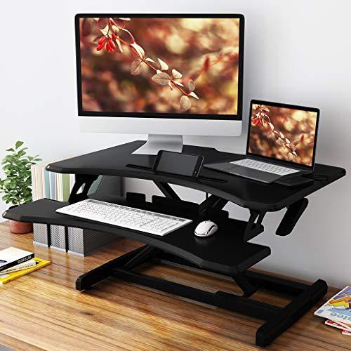SLYPNOS Sit Stand Desk Height Adjustable Standing Desk, Ergonomic PC Workstation Converter Stand Up Desk Riser with Detachable Keyboard Tray for Computer Laptop for Home Office 76.9 * 49.8 cm, Black