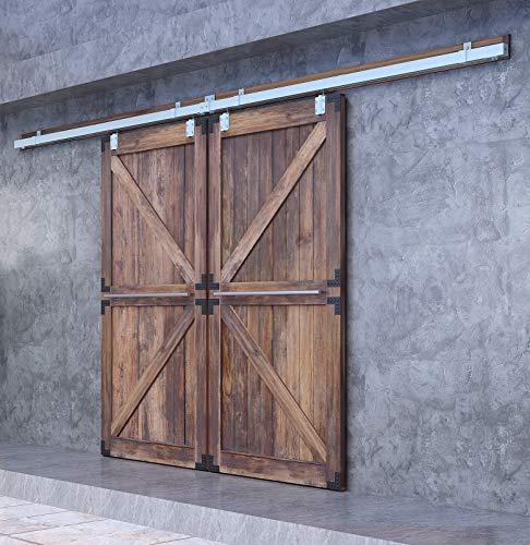 DIYHD 12FT Raw Material Box Track Double Sliding Barn Door Hardware,Wall Mount Bracket Exterior Door Kit