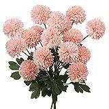 4pcs Artificial Mums Flowers Long Stem Ball Flowers Bouquets Fake Flowers Bulk for Home Office Cafe Centerpieces Wedding Party Decoration- Light Pink Flower