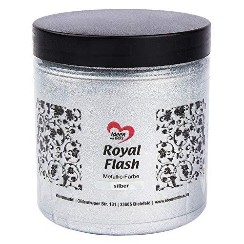 Royal Flash, Acryl-Farbe, metallic, mit feinsten Glitzerpartikeln, 250 ml (XL silber - 250 ml)