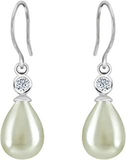 0.20 CT Round Cut CZ & Simulated Pearl 925 Sterling Silver French Hook Earrings for Women 14K White Gold Finish