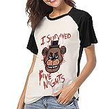 DCEGasc Camiseta de béisbol Five Nights at Freddy i Survived para mujer, cuello redondo, manga corta raglán