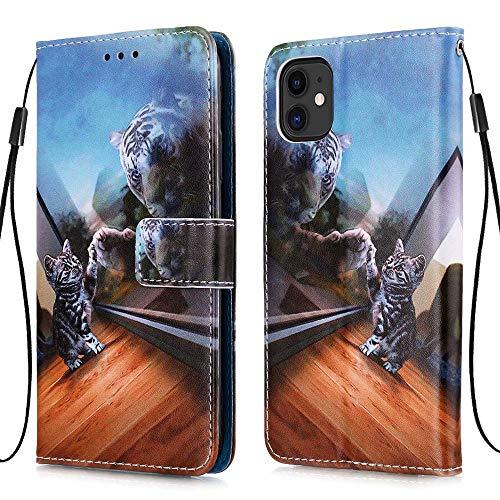 MUTOUREN Funda Samsung Galaxy A51 4G, con Gratis Protector Pantalla, Cuero PU y TPU Silicona Carcasa Wallet Case Flip Cover con Ranuras Tarjetas Cierre Magnético, Gato Espejo