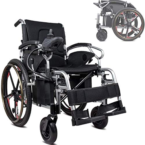 FC-LY Silla de Ruedas eléctrica, Todo Terreno Movilidad Plegable Ayuda Poder Silla de Ruedas, Posición Ajustable 360 ° Joystick Cómodo Diseño ergonómico Transpirable