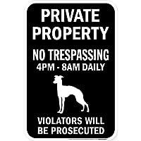 PRIVATE PROPERTY ブラックマグネットサイン:イタリアングレイハウンド シルエット 英語 私有地 無断立入禁止