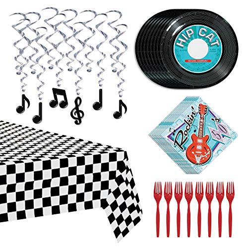 50s Party Decorations - Record Paper Plates, Rock N Roll Napkins, Checkered Diner Tablecover, Music Note Hanging Whirls, and Red Plastic Forks (Serves 8)