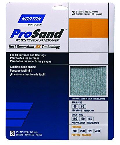 Norton 07660702624 320-grit 3x High Performance Bulk Sandpaper, 9'x11' (Pack of 100)