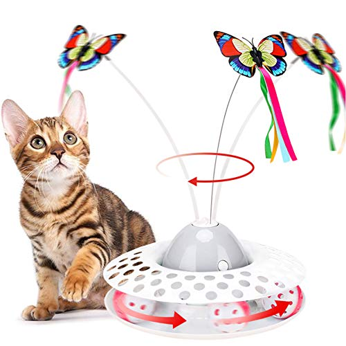 Interactive Cat Toys - Automatic Electric Rotating Butterfly & Ball Exercise Kitten Toy,Funny Cat Teaser Toys for Indoor Cats,2 Butterfly Replacements (Grey)