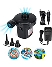Elektrische luchtpomp, camping elektrische pompen voor luchtmatrassen, luchtbedden, boten, peddelen zwembaden, met 3 sproeiers AC 110-240V & DC 12V/50W