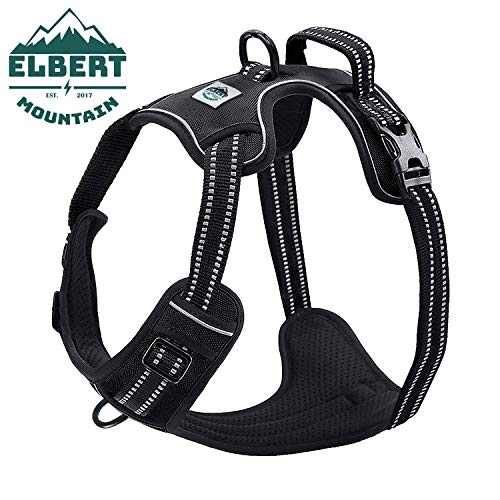 Dog Harness No Pull No Choke Adjustable Vest, Car Safety, Easy Control for Walking Hiking, 3M Reflective Oxford Material, Durable, Breathable - Small,Medium, Large & Extra Large Dog & Puppy S-Black