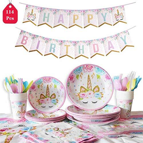 Amycute 114 Pezzi Unicorno Party Kit Compleanno,Set di Articoli per Feste Unicorno per Bambini Ragazze Festa di Compleanno Baby Shower Serve 16 Ospiti