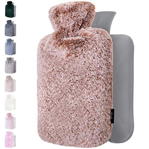 Hot Water Bottle with Soft Premium Cover - 1.8L large - Classic Hot Water Bag for Pain Relief, Cramps, Cozy Nights - Feet and Bed Warmer - Water Heating Pad - Great Gift for Women - Girls (Dark Brown)