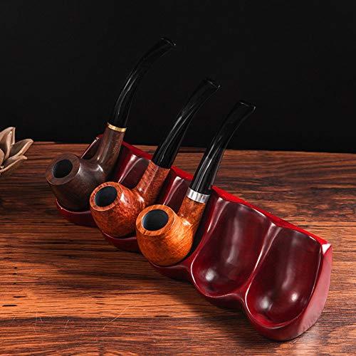QLIGHA Hölzerne Tabakpfeifen Rotes Palisander 5-stelliges löffelförmiges einteiliges Rohrgestell Desktop-Rauchrohr-Display-Gestell