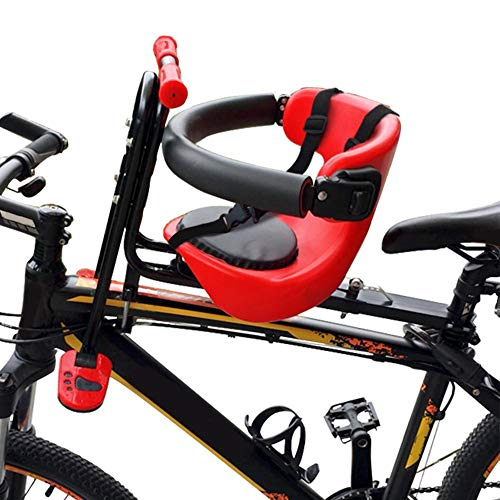 cheerfulus-1 Portable Child Bike Seat,Universal Kids Bicycle Seat,Front Mount Baby Bike Seat Carrier with Handrail Pedals for Kids Children Toddler Safety Seat