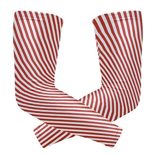 FAJRO - Manga de compresión con patrón de rayas rojas para deportes al aire libre