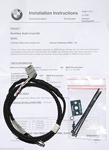 New AUX Input Adapter KIT for BMW E46 3-Series 323 325 328 330 M3 Business CD Player Radio MP3 Auxiliary iPod iPhone Android