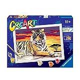 Ravensburger CreArt Tigre, Kit de Pintura, Pintar por Números, Juego Creativo para Niños y Niñas, Edad Recomendada 11+