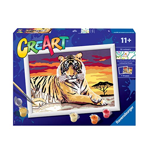 Ravensburger 28937 0 CreArt, Tigre, Dipingere con i Numeri, Gioco Creativo per Bambine e Bambini, Età Raccomandata 11+
